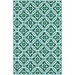 StyleHaven Outdoor Floral Polypropylene 67 X 96 Blue/Green Area Rug