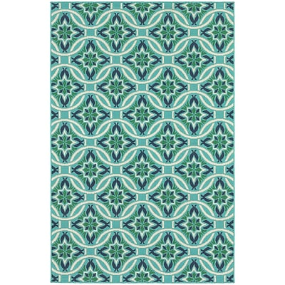 StyleHaven Outdoor Floral Polypropylene 53 X 76 Blue/Green Area Rug (WMEI5868L5X8L)
