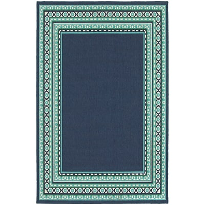 StyleHaven Transitional Border Polypropylene 67 X 96 Navy/Green Area Rug (WMEI9650B6X9L)