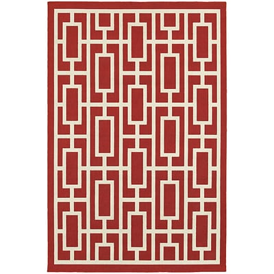 StyleHaven Outdoor Geometric Polypropylene 710 X 1010 Red/Ivory Area Rug (WMEI9754R8X11L)