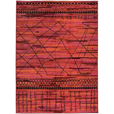 StyleHaven Contemporary Abstract Polypropylene 710 X 1010 Orange/Pink Area Rug (WNOM633R58X11L)