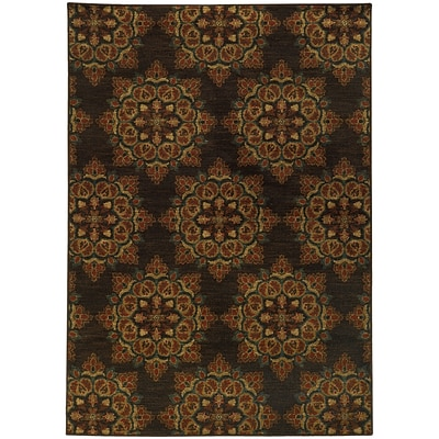 StyleHaven Transitional Floral Polypropylene 53 X 76 Brown/Blue Area Rug (WPAK5495C5X8L)