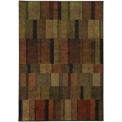 StyleHaven Transitional Geometric Polypropylene 310 X 55 Brown/Green Area Rug (WPAK5589A4X6L)