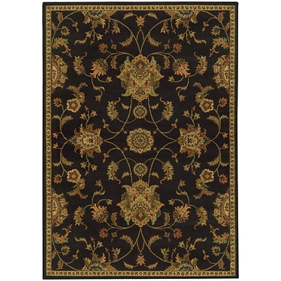 StyleHaven Transitional Floral Polypropylene 67 X 96 Black/Green Area Rug (WPAK5835B6X9L)