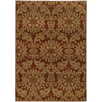 StyleHaven Transitional Floral Polypropylene 53 X 76 Rust/Taupe Area Rug (WPAK5840B5X8L)