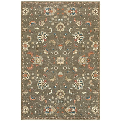 StyleHaven Traditional Botanical Polypropylene 67 X 96 Grey/Multi Area Rug (WPSH031Q66X9L)