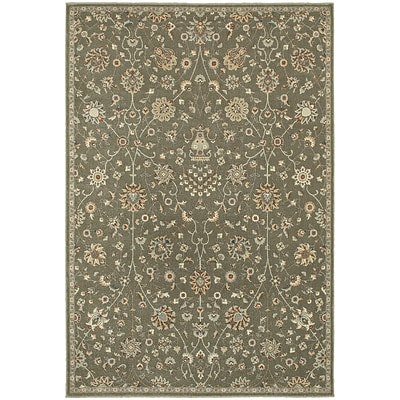 StyleHaven Traditional Botanical Polypropylene 710 X 1010 Grey/Multi Area Rug (WPSH111H68X11L)