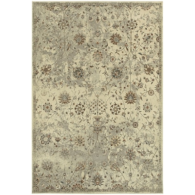 StyleHaven Traditional Distressed Floral Polypropylene 67X96 Beige/Grey Area Rug (WPSH112W66X9L)