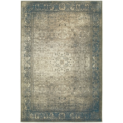 StyleHaven Traditional Distressed Medallion Polypropylene 53X76 Blue/Beige Rug (WPSH1330E5X8L)