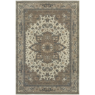 StyleHaven Distressed Polypropylene 53X76 Ivory/Grey Area Rug (WPSH5991D5X8L)