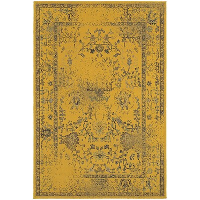 StyleHaven Traditional Overdyed Polypropylene 67 X 96 Gold/Grey Area Rug (WREV3251J6X9L)