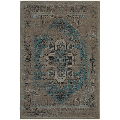 StyleHaven Traditional Overdyed Polypropylene 710 X 1010 Grey/Teal Area Rug (WREV4694E8X11L)