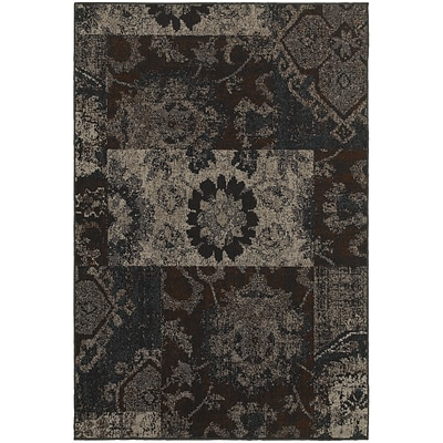 StyleHaven Overdyed Patchwork Polypropylene 710X1010 Charcoal/Teal Area Rug (WREV4712C8X11L)