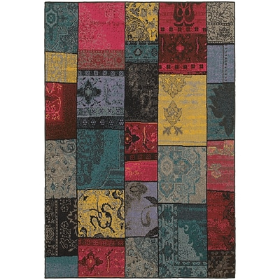 StyleHaven Overdyed Patchwork Polypropylene 710X1010 Multi/Charcoal Area Rug (WREV501M78X11L)