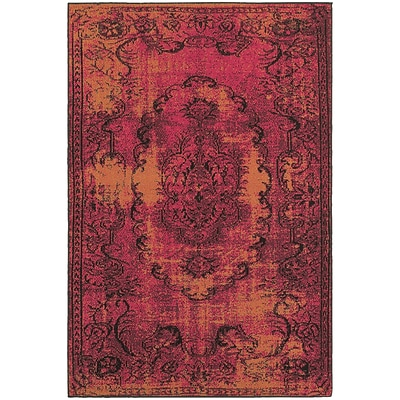 StyleHaven Traditional Overdyed Polypropylene 710 X 1010 Pink/Yellow Area Rug (WREV6314B8X11L)