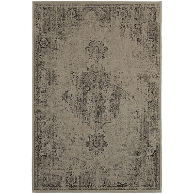 StyleHaven Traditional Overdyed Polypropylene 53 X 76 Grey/Charcoal Area Rug (WREV6330A5X8L)