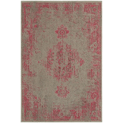 StyleHaven Traditional Overdyed Polypropylene 310 X 55 Grey/Pink Area Rug (WREV6330F4X6L)