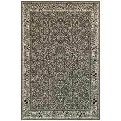 StyleHaven Traditional Polypropylene 710 X 1010 Grey/Ivory Area Rug (WRIC001E38X11L)