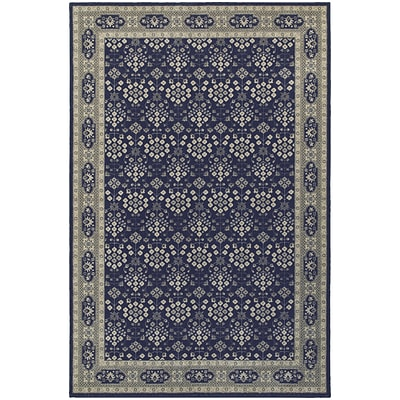 StyleHaven Traditional Classic Oriental Polypropylene 53 X 76 Navy/Grey Area Rug (WRIC119B35X8L)