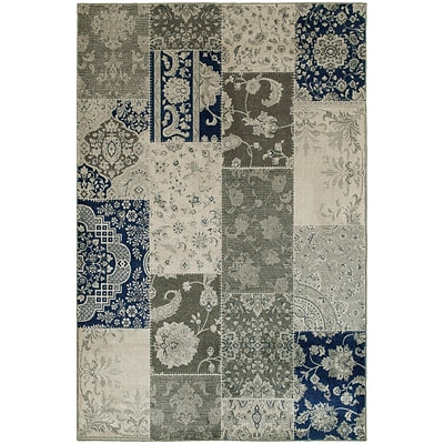 StyleHaven Casual Patchwork Persian Polypropylene 67 X 96 Ivory/Grey Area Rug (WRIC1338B6X9L)