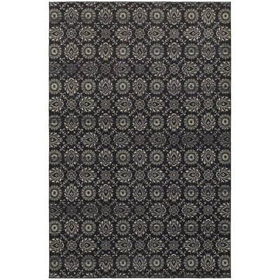 StyleHaven Traditional Floral Polypropylene 67 X 96 Navy/Grey Area Rug (WRIC214H36X9L)