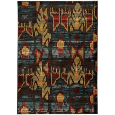 StyleHaven Transitional Tribal Nylon/Polypropylene 710X1010 Grey/Blue Area Rug (WSDN4378H8X11L)