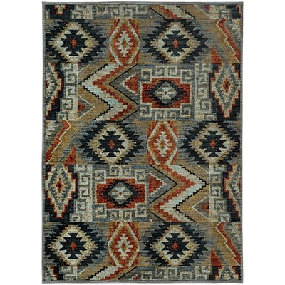 StyleHaven Patchwork Lodge Nylon/Polypropylene 53X76 Blue/Multi Area Rug (WSDN5937D5X8L)