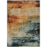 StyleHaven Contemp Eroded Abstract Nylon/Polypropylene 710X1010 Blue/Red Area Rug WSDN6365A8X11L