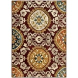 StyleHaven Floral Medallion Nylon/Polypropylene 67X96 Red/Gold Area Rug (WSDN6366A6X9L)
