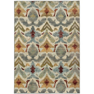 StyleHaven Transitional Tribal Ikat Nylon/Polypropylene 53X76 Ivory/Grey Area Rug WSDN6371C5X8L