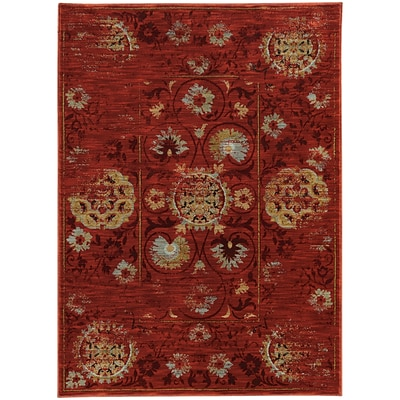 StyleHaven Distressed Nylon/Polypropylene 310X55 Red/Gold Area Rug (WSDN6386E4X6L)