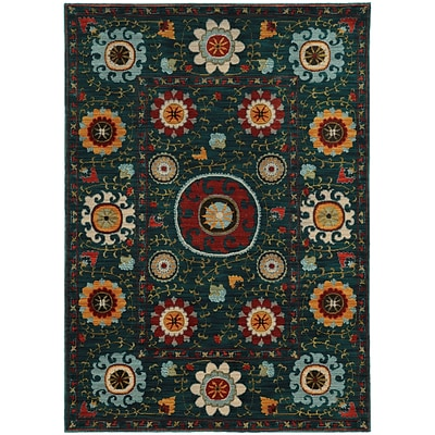 StyleHaven Transitional Multi Floral Nylon/Polypropylene 310X55 Blue/Multi Rug (WSDN6408B4X6L)