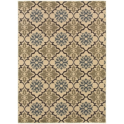 StyleHaven Transitional Floral Quatrefoil Polypropylene 67X93 Blue/Green Area Rug WSTN6015A6X9L