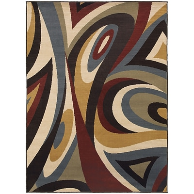 StyleHaven Transitional Swirl Polypropylene 53 X 73 Brown/Multi Area Rug (WSTN6016B5X8L)