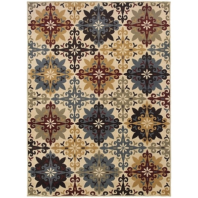 StyleHaven Floral Cross Panel Polypropylene 710X10 Ivory/Multi Area Rug (WSTN6017A8X10L)