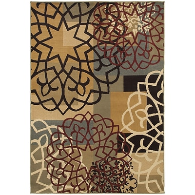 StyleHaven Transitional Block and Floral Polypropylene 710X10 Multi/Gold Area Rug WSTN6021B8X10L