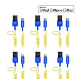 Delton Apple Certified 4FT Lightning Cable, Assorted Colors, 6/Pack (CE17418A)