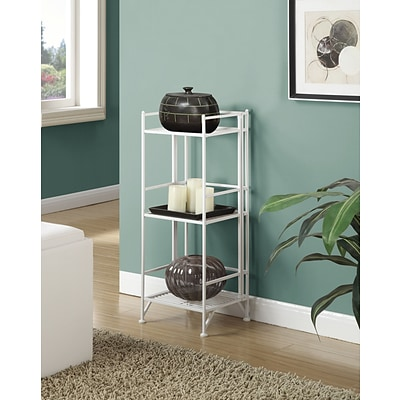 Convenience Concepts Designs2Go Media Towers 3 Tier Folding Metal Shelf White Finish (8018W)