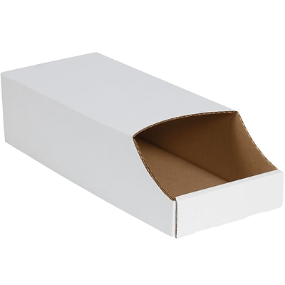Stackable Bin Boxes, 8 x 18 x 4 1/2, White, 50/Bundle (BINB818)