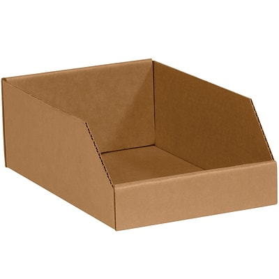Open Top Bin Boxes, 10 x 12 x 4-1/2, Kraft, 25/Bundle (BINMT1012K)