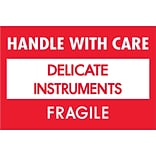 Tape Logic® Fragile Labels; Delicate Instruments - HWC, 2 x 3, Red/White, 500/Roll (DL1308)