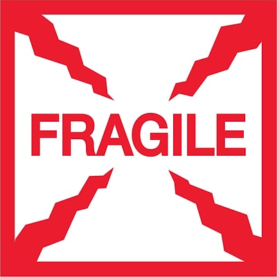 Tape Logic® Labels, Fragile, 2 x 2, Red/White, 500/Roll (DL1316)
