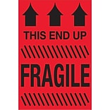 Tape Logic® Labels; This End Up - Fragile, 2 x 3, Fluorescent Red, 500/Roll (DL1325)