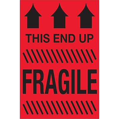 Tape Logic® Labels, This End Up - Fragile, 2 x 3, Fluorescent Red, 500/Roll (DL1325)