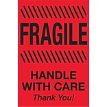 Tape Logic® Labels; Fragile - Handle With Care, 2 x 3, Fluorescent Red, 500/Roll (DL1326)