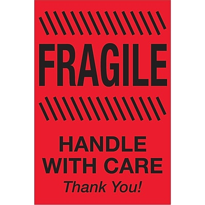 Tape Logic® Labels, Fragile - Handle With Care, 2 x 3, Fluorescent Red, 500/Roll (DL1326)
