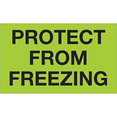 Tape Logic® Climate Labels, Protect From Freezing, 3 x 5, Fluorescent Green, 500/Roll (DL1329)