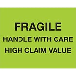 Tape Logic® Labels; Fragile Handle With Care - High Claim Value, 8 x 10, Fluorescent Green, 250/