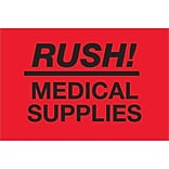 Tape Logic® Labels; Rush - Medical Supplies, Fluorescent Red, 500/Roll (DL1335)