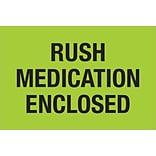 Tape Logic® Labels; Rush - Medication Enclosed, Fluorescent Green, 500/Roll (DL1336)